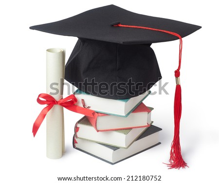 Graduation cap and diploma with books isolated on white - stock photo