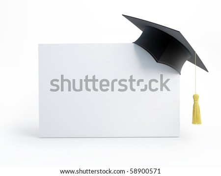 graduation cap blank isolated on a white background - stock photo