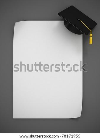 Graduation Cap 3d rendering - two variations - stock photo