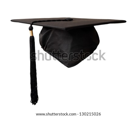 graduation cap isolated on white background - stock photo