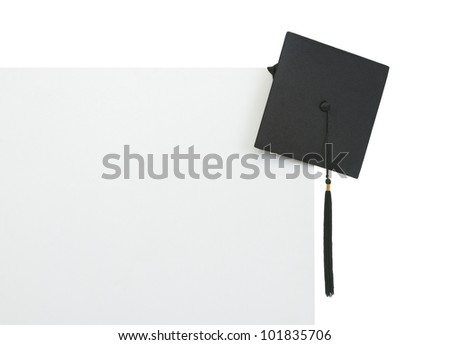 Graduation cap on blank billboard - stock photo
