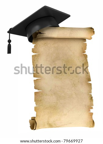 Graduation Cap on the top of old parchment - certificate or diploma template - stock photo