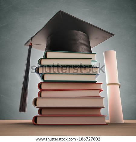 Graduation cap over the pile of books with blackboard on background. Clipping path included.
