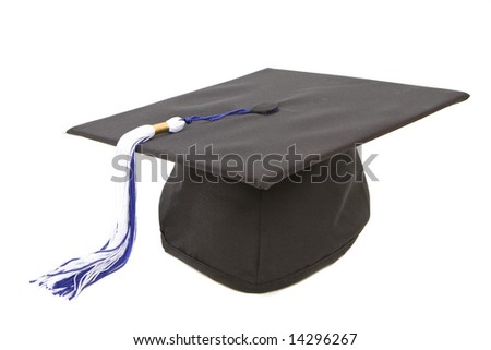 Graduation cap with blue white tassel isolated against white background - stock photo