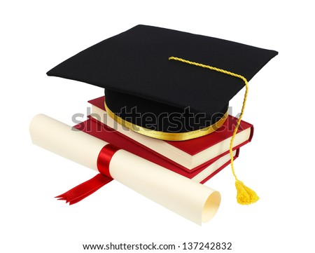 Graduation cap with books and diploma isolated on white background
