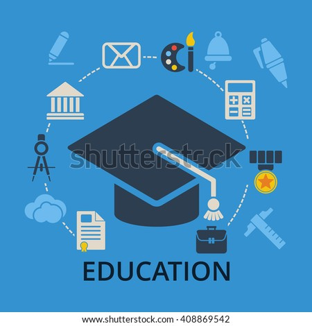 Graduation cap with education icons. Academic hat and icons for education training and tutorials. Education flat illustration on blue. - stock photo