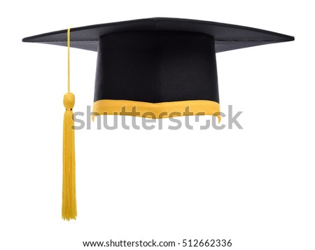 Graduation cap with gold tassel isolated on white background. Graduation hat.