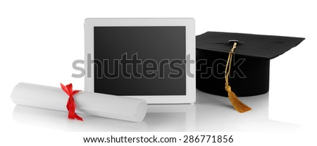Graduation cap with tablet and diploma isolated on white - stock photo