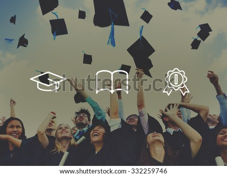 Graduation Caps Achievement Education Success Concept