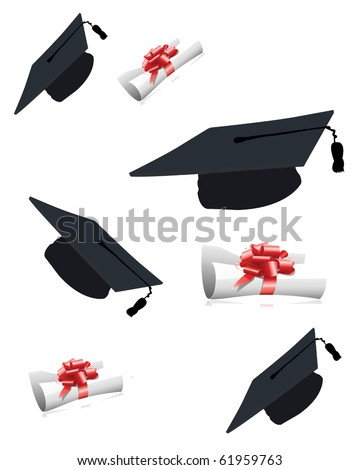 Graduation caps and diplomas isolated on white background - stock photo