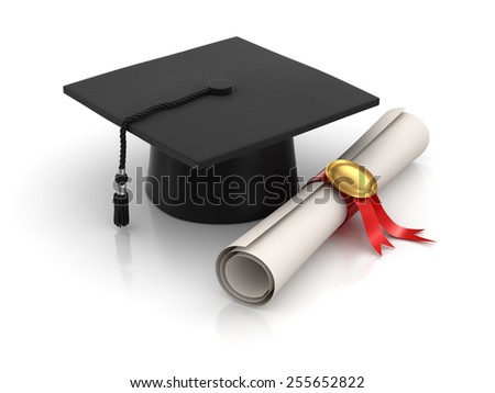 Graduation , computer generated image. 3d rendered image. - stock photo