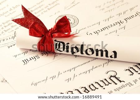 Graduation Diploma, shallow depth of field - stock photo