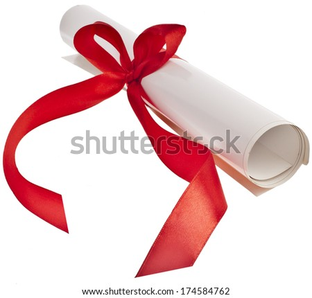 Graduation diploma with red ribbon  isolated on white background. Symbol of successful graduation  - stock photo