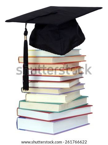 graduation from school or college concept with book and cap - stock photo