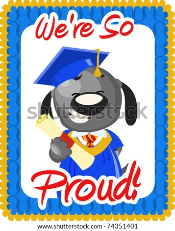 Graduation greeting with dog in cap and gown - stock photo