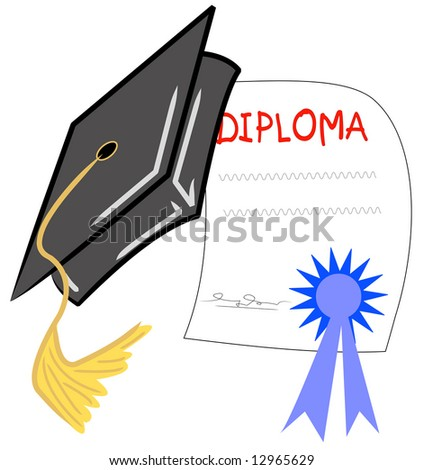 graduation hat and diploma - graduation day - stock photo