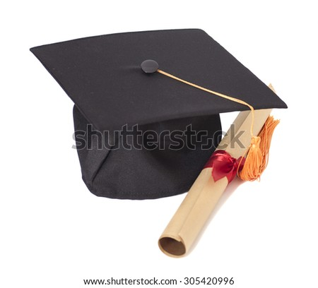 Graduation Hat and Diploma Isolated on White Background - stock photo