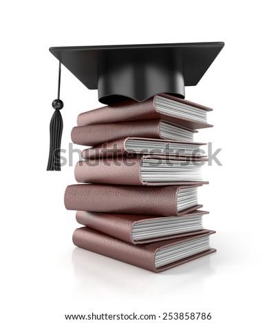 Graduation Hat on books. 3d illustration - stock photo