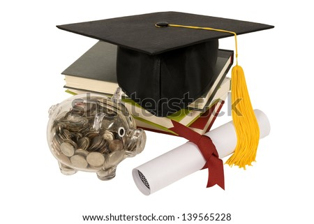 graduation hat books diploma piggy bank stock photo  graduation hat books diploma and piggy bank saving money and a good