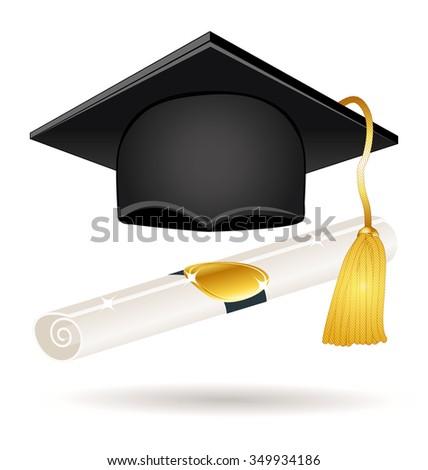 Graduation hat with diploma. Icon illustration. - stock photo