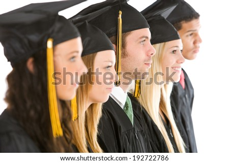 Graduation: Line Up Of Graduates In Caps and Gowns