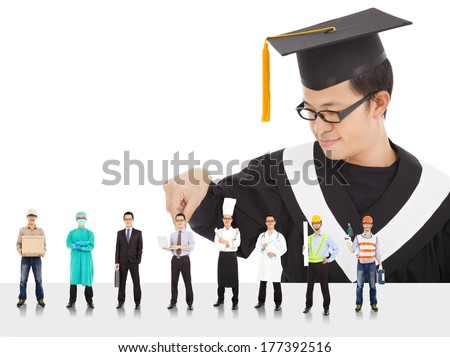 Graduation male student have different  careers to choose.  - stock photo