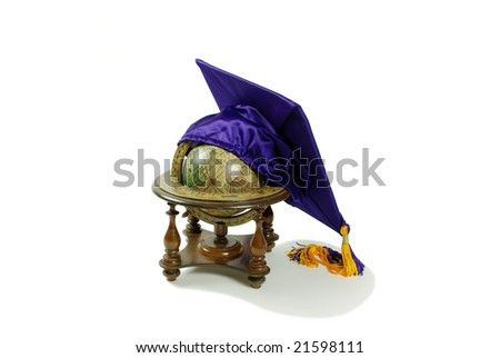 Graduation mortar board with tassel used during ceremonies, Old world globe with basic navigation notations