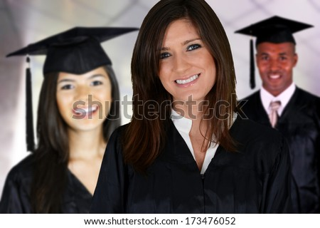 Graduation of a group of students dressed in a black gown - stock photo