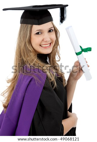 Graduation woman holding her diploma isolated - stock photo