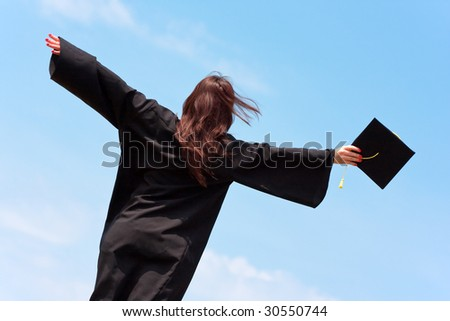 graduation woman portrait - stock photo