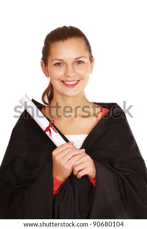 Graduation woman portrait smiling, isolated on white background