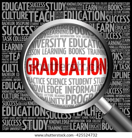 GRADUATION word cloud with magnifying glass, concept 3D illustration