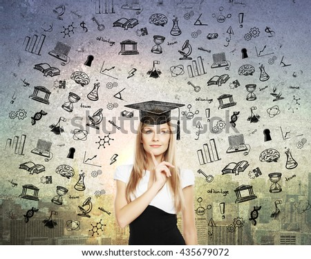 Graducation concept with thoughtful businesswoman in mortar board cap on abstract city background with black educational sketches - stock photo
