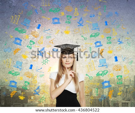 Graducation concept with thoughtful businesswoman in mortar board cap on abstract city background with educational sketches - stock photo