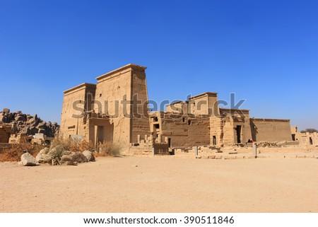Graeco-Roman Temple of Philae  dedicated to the Aswan,  Egypt  - stock photo