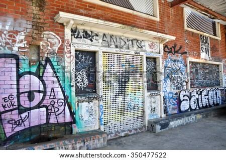 Graffiti and tagging in Fremantle,Western Australia/Graffiti in Freo: Skater Zone/FREMANTLE,WA,AUSTRALIA-NOVEMBER 19,2015: Graffiti and tagging on building exterior in Fremantle, Western Australia.