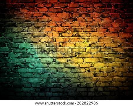 graffiti brick wall - stock photo