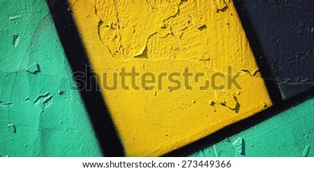 Graffiti closeup - retro photo. Color wall macro background  - vintage effect. Colorful paint on concrete surface - toned filter. Wide photo for web site slider. - stock photo