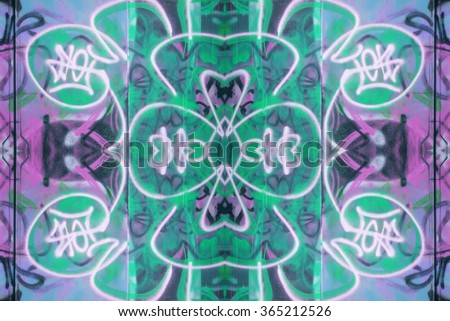 Graffiti Doodles Pattern. Graffiti elements repeated and reflected to create a pattern. - stock photo
