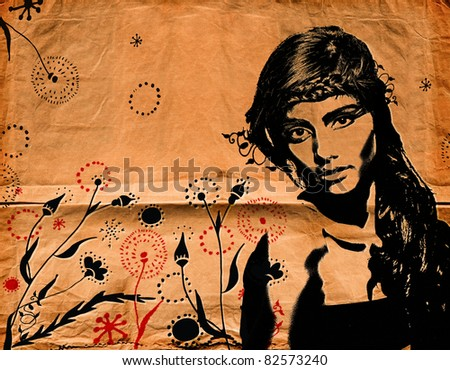 graffiti fashion illustration of a beautiful woman with long hair on paper texture with grunge effect - stock photo