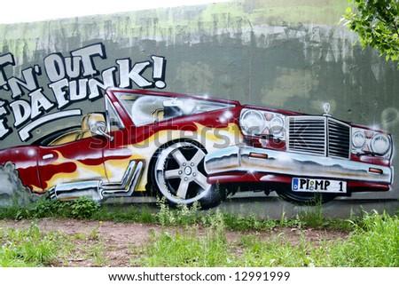 Graffiti: flashing Mercedes Benz - stock photo