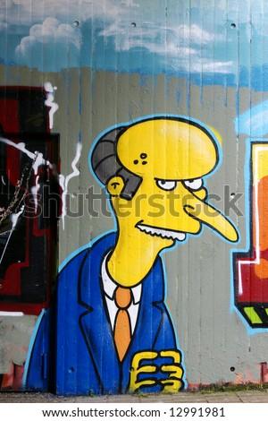 Graffiti: Homer Simpson's boss Mr. Burns - stock photo