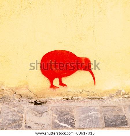 graffiti of a bird - stock photo