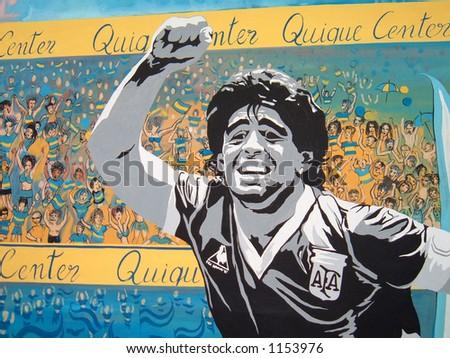 Graffiti of Diego Maradona - stock photo