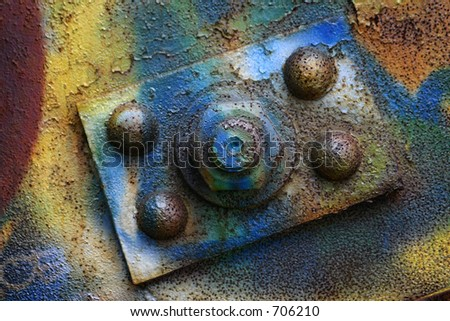 graffiti on an abandoned train bridge. Good as abstract art/background or as texture. - stock photo