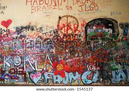 Graffiti on the wall - stock photo