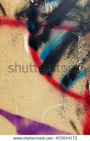 Graffiti on the wall,Abstract creative drawing