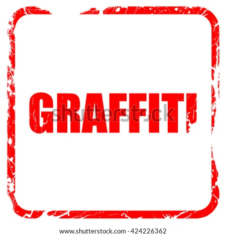 graffiti, red rubber stamp with grunge edges - stock photo