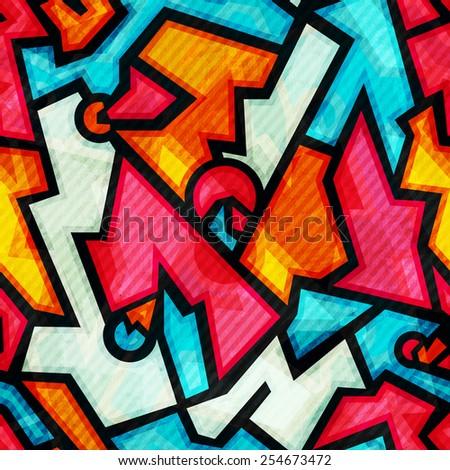 graffiti seamless pattern with grunge effect (raster version) - stock photo