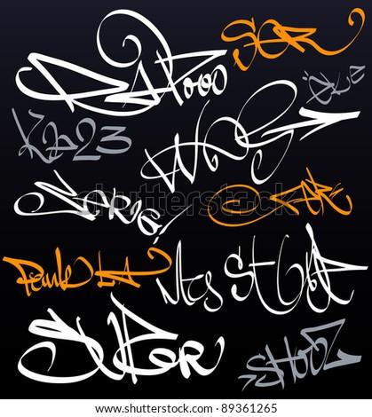 Graffiti tag wall - stock photo